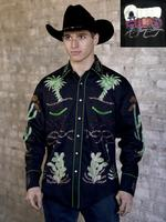 B Rockmount Ranch Wear Men's Vintage Western Shirt: Fancy Palm Trees and Wagon Wheels  Black Backordered