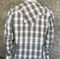 Rockmount Ranch Wear Men's Vintage Western Shirt: Shadow Plaid Grey 2XL