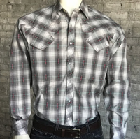 Rockmount Ranch Wear Men's Vintage Western Shirt: Shadow Plaid Grey S-XL Back Ordered