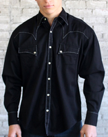 Rockmount Ranch Wear Men's Western Shirt: Cotton Saddle Stitch Black