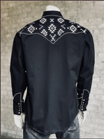 Rockmount Ranch Wear Men's Vintage Western Shirt: Native American Inspired Embroidery Black 2X