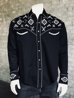 Rockmount Ranch Wear Men's Vintage Western Shirt: Native American Inspired Embroidery Black