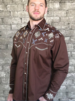 Rockmount Ranch Wear Men's Vintage Western Shirt: Native American Inspired Embroidery Brown