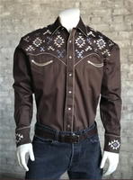 Rockmount Ranch Wear Men's Vintage Western Shirt: A A Native American Inspired Embroidery Brown S-XL