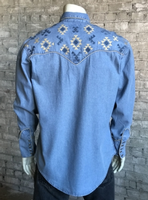 Rockmount Ranch Wear Men's Vintage Western Shirt: Native American Inspired Embroidery Denim 2X