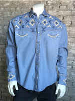 Rockmount Ranch Wear Men's Vintage Western Shirt: A A Native American Inspired Embroidery Denim