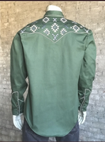 Rockmount Ranch Wear Men's Vintage Western Shirt: Native American Inspired Embroidery Green 2X