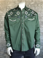 Rockmount Ranch Wear Men's Vintage Western Shirt: A A Native American Inspired Embroidery Green S-XL