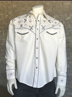 Rockmount Ranch Wear Men's Vintage Western Shirt: A A Native American Inspired Embroidery Ivory S-XL
