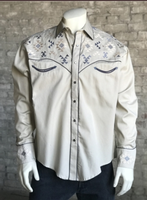 Rockmount Ranch Wear Men's Vintage Western Shirt: A A Native American Inspired Embroidery Khaki S-XL