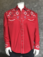 Rockmount Ranch Wear Men's Vintage Western Shirt: Native American Inspired Embroidery Red