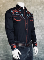 Rockmount Ranch Wear Men's Vintage Western Shirt: A A Scroll & Floral Embroidery Black 2XL