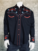 Rockmount Ranch Wear Men's Vintage Western Shirt: A A Scroll & Floral Embroidery Black S-XL