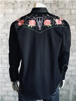 Rockmount Ranch Wear Men's Vintage Western Shirt: Floral & Longhorn Steer Skull Black 2X