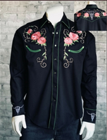 B Rockmount Ranch Wear Men's Vintage Western Shirt: Floral & Longhorn Steer Skull Black Backordered