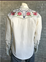 Rockmount Ranch Wear Men's Vintage Western Shirt: A A Floral & Steer Ivory 2XL