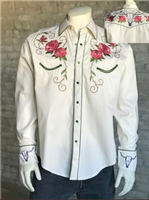 Rockmount Ranch Wear Men's Vintage Western Shirt: A A Floral & Steer Ivory M-XL