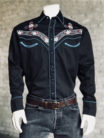 Rockmount Ranch Wear Men's Vintage Western Shirt: A A Floral Embroidery Black S-XL