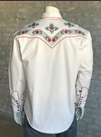 Rockmount Ranch Wear Men's Vintage Western Shirt: A A Floral Embroidery Ivory 2XL