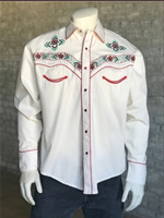 Rockmount Ranch Wear Men's Vintage Western Shirt: Floral Embroidery Ivory 2X