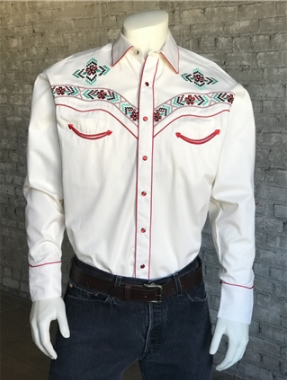Rockmount Ranch Wear Men's Vintage Western Shirt: Floral Embroidery Ivory