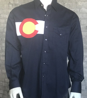 Rockmount Ranch Wear Men's Vintage Western Shirt: A Colorado Flag Navy S-XL Back Ordered