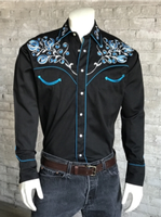 ZSold Rockmount Ranch Wear Men's Vintage Western Shirt: Fancy Prairie Blue w Floral Embroidery on Black SOLD