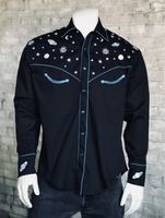 Rockmount Ranch Wear Men's Vintage Western Shirt: Planet Western Black