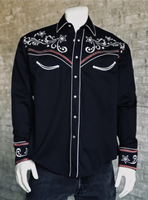 Rockmount Ranch Wear Men's Vintage Western Shirt: A A Star & Scroll Black S-XL