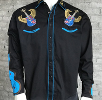 ZSold Rockmount Ranch Wear Men's Vintage Western Shirt: Guitar Winged on Black SOLD