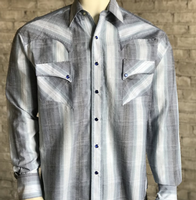 Rockmount Ranch Wear Men's Western Shirt: A Stripe Retro Dobby Blue Backordered