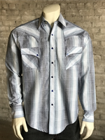 Rockmount Ranch Wear Men's Western Shirt: A Stripe Retro Dobby Blue Backorder