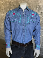 Rockmount Ranch Wear Men's Vintage Western Shirt: Fancy Teal Floral Embroidery Denim SALE