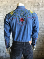 Rockmount Ranch Wear Men's Vintage Western Shirt: Fancy Floral Denim 2X