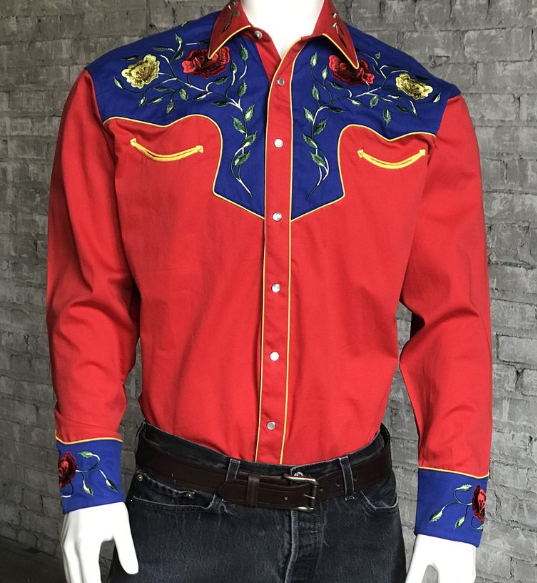 Rockmount Ranch Wear Men's Vintage Western Shirt: Fancy Two Tone Roses Red and Blue