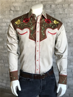 Rockmount Ranch Wear Men's Vintage Western Shirt: Fancy Two Tone Roses Tan and Brown Advance Order