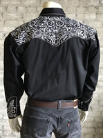 Rockmount Ranch Wear Men's Vintage Western Shirt: Fancy Tooling Design Black Silver 2X
