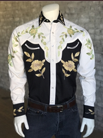 B Rockmount Ranch Wear Men's Vintage Western Shirt: Floral Two Tone Backorder