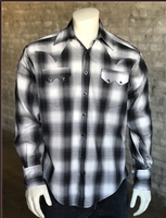 Rockmount Ranch Wear Men's Western Shirt: A Shadow Plaid Black S-XL Back Ordered