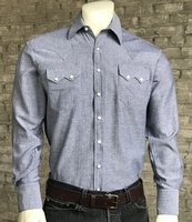 Rockmount Ranch Wear Men's Western Shirt: Dress Shirt Herringbone Light Blue S-XL
