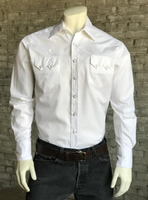 Rockmount Ranch Wear Men's Western Shirt: Dress Shirt Herringbone White Backorder