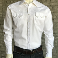 Rockmount Ranch Wear Men's Western Shirt: Dress Shirt Herringbone White 2XL