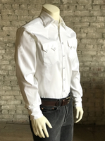Rockmount Ranch Wear Men's Western Shirt: Dress Shirt Rib White on White