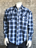B Rockmount Ranch Wear Men's Vintage Western Shirt: Shadow Plaid Horseshoes on Blue Backordered