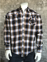 Rockmount Ranch Wear Men's Vintage Western Shirt: Shadow Plaid Horseshoes on Brown S, M, XL