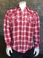 B Rockmount Ranch Wear Men's Vintage Western Shirt: Shadow Plaid Horseshoes on Red Backordered