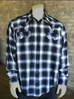 Rockmount Ranch Wear Men's Western Shirt: A Shadow Plaid Black Blue 2XL-3XL, Tall