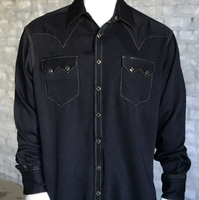 Rockmount Ranch Wear Men's Western Shirt: Sueded Tencel Black 2XL and Talls
