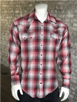 ZSold Rockmount Ranch Wear Men's Western Shirt: A Shadow Plaid Red Cotton SOLD