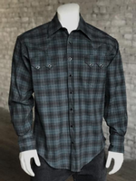 Rockmount Ranch Wear Men's Western Shirt: A Plaid Rayon Blend Green Grey 2XL-4XL